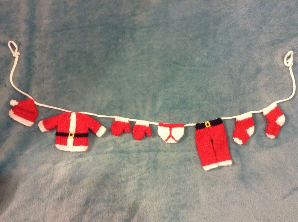 knitting pattern cute father christmas santa washing line decoration ebay. Black Bedroom Furniture Sets. Home Design Ideas