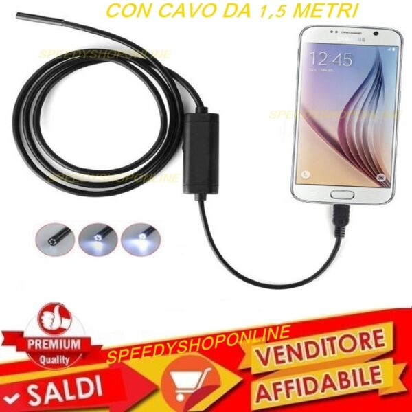 CAMERA Endoscopica  USB X Smartphone PC SONDA Camera Ispezione Cavo 1,5 metri
