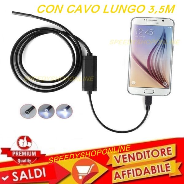 CAMERA  Endoscopica USB X Smartphone PC SONDA Camera Ispezione Cavo 3,5 metri
