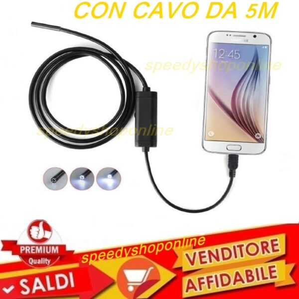 CAMERA Endoscopica USB X Smartphone PC SONDA Camera Ispezione Cavo 5 metri