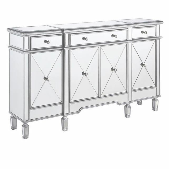 Buffet Table Server Cabinet Sideboard Mirrored Furniture