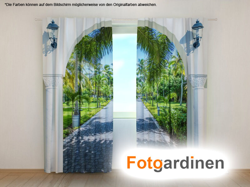 fotogardinen bogen vorhang 3d fotodruck fotovorhang mit. Black Bedroom Furniture Sets. Home Design Ideas