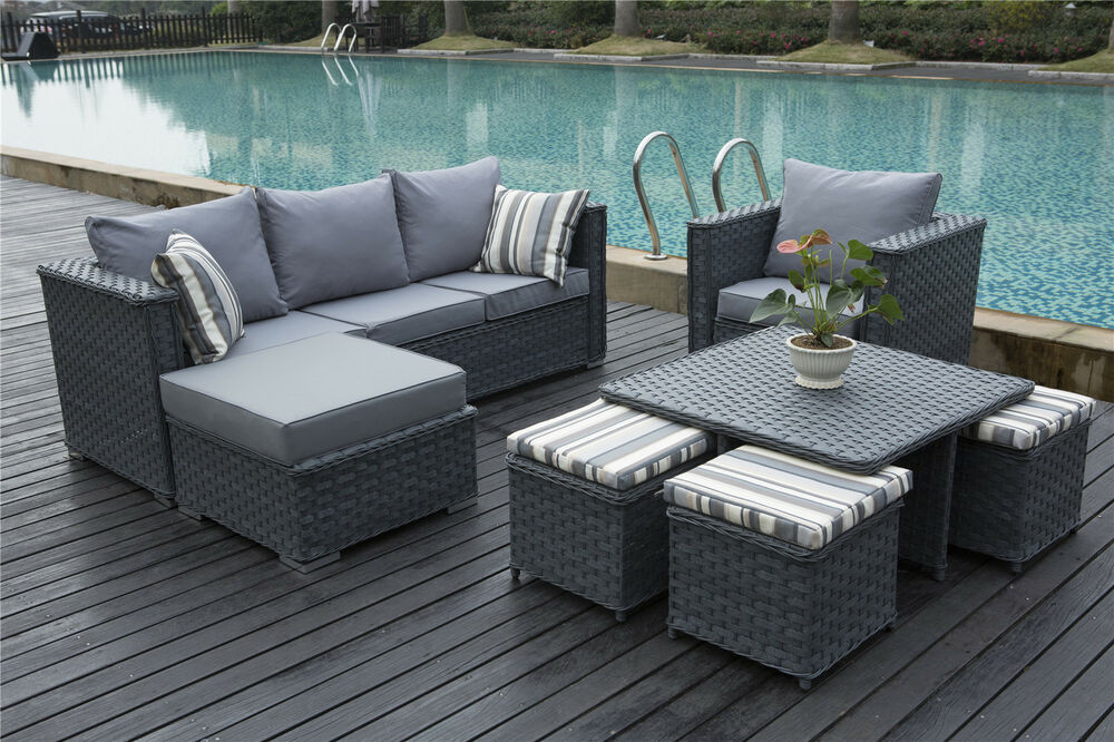 Monaco 9 seater rattan corner sofa set conservatory garden for 9 seater sofa set
