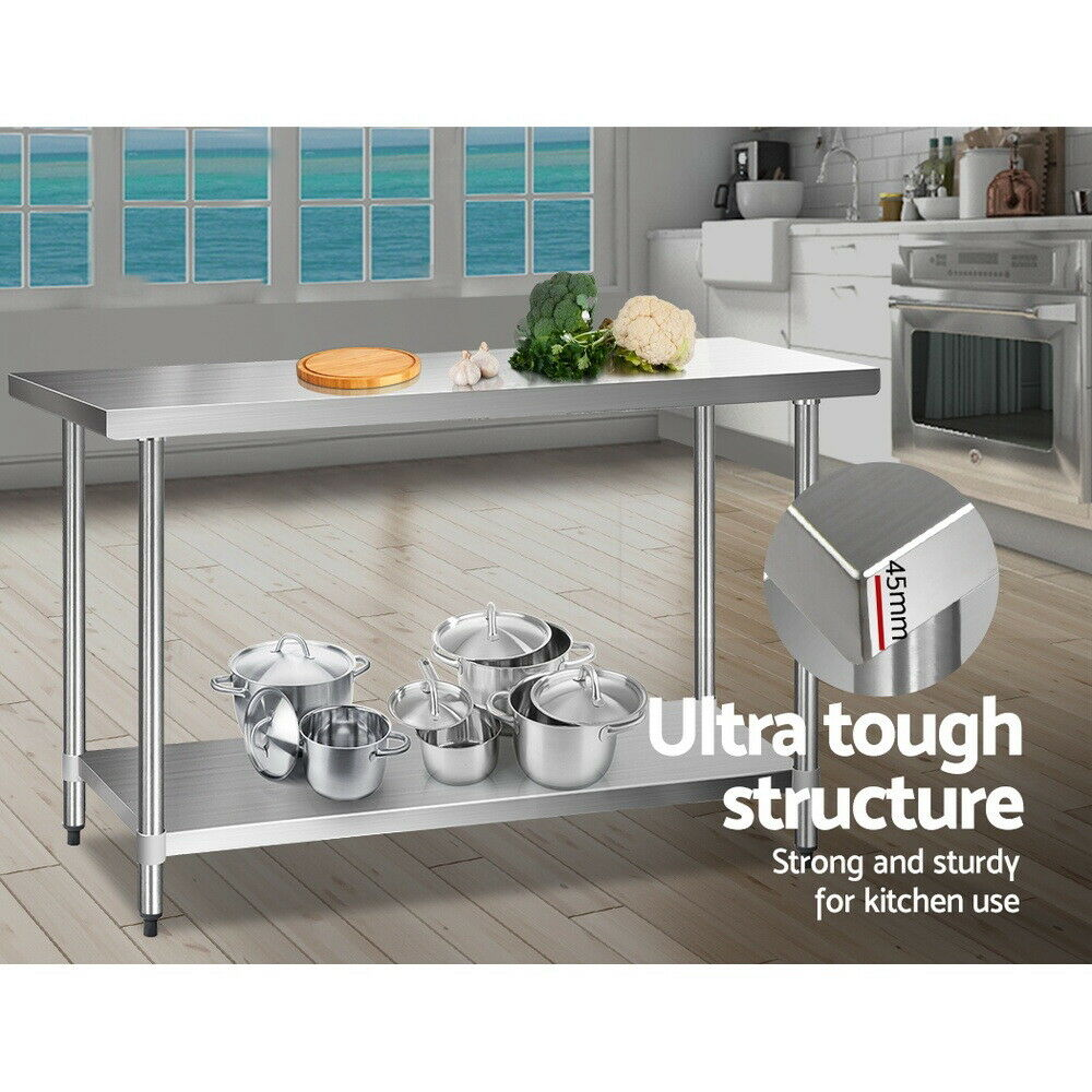 Quality 430 Stainless Steel Work Bench Table Kitchen Commercial Workshop 152cm Ebay