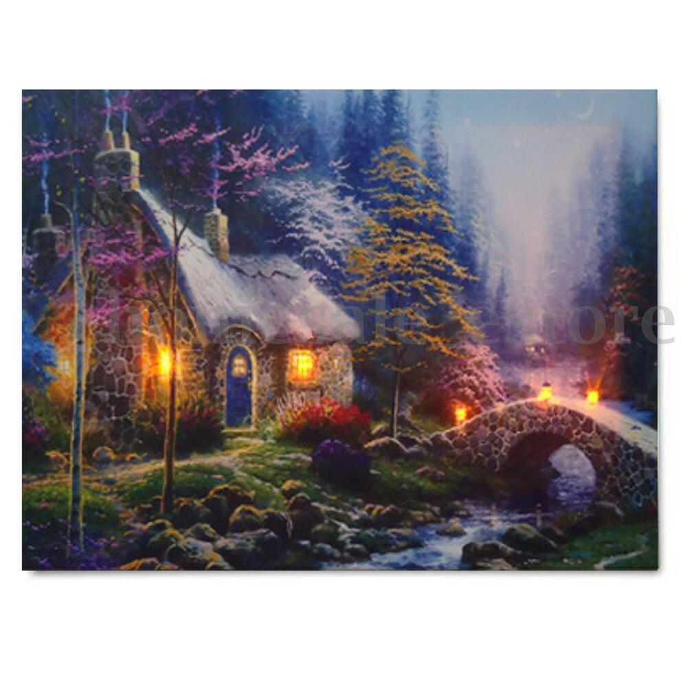 LED House Landscape Lighted Canvas Picture Print Home Wall ... on Led Wall id=92481