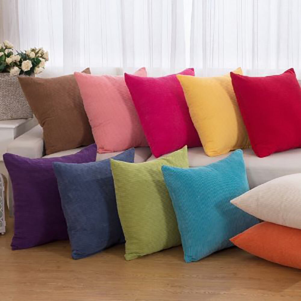 """Decorative Pillows For Couch: Hot Candy Color 17"""" 22"""" Corduroy Throw Cushion Cover"""