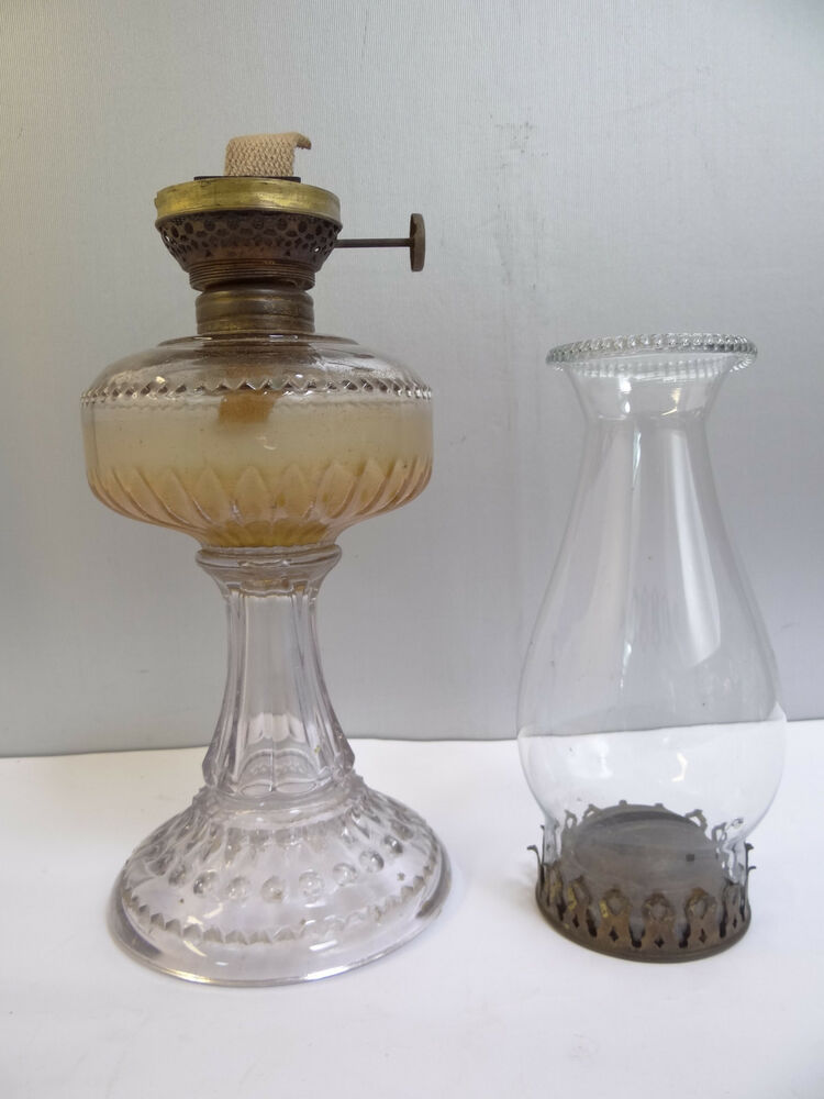 antique old the solar e h co clear glass brass oil lamp burner with shade ebay. Black Bedroom Furniture Sets. Home Design Ideas