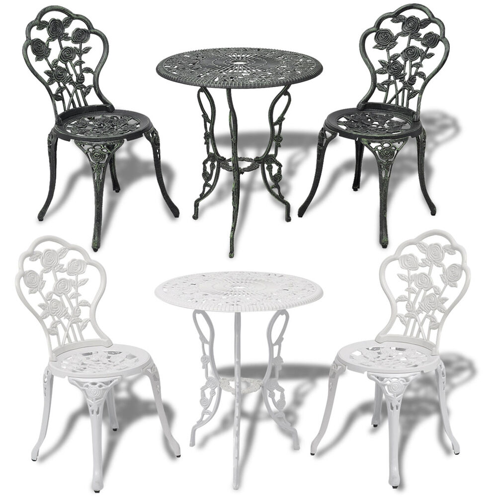 3tlg bistro set tisch 2 st hle garten essgruppe gartenm bel aluguss gr n wei ebay. Black Bedroom Furniture Sets. Home Design Ideas