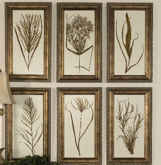Set 6 Wheat Grass Wall Prints Gold Wood Frame Home Decor