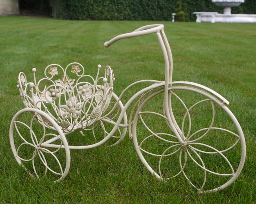 Shabby chic metal tricycle planter stand garden ornament bike basket flower pots ebay - Bicycle planter stand ...