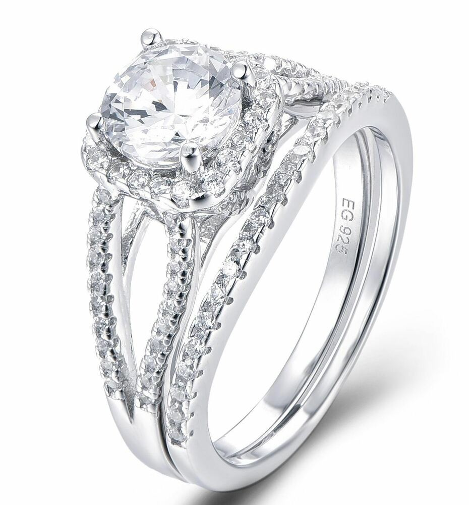 925 Sterling Silver Halo Cz Wedding Band Engagement Rings