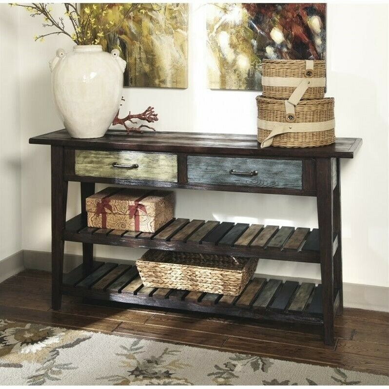 Ashley Mestler Sofa Table In Rustic Brown Ebay