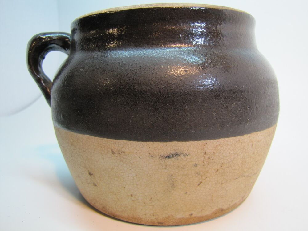 Old Stoneware Pottery Bean Crock Two Tone Brown White