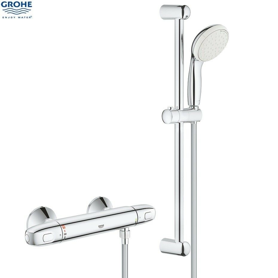 grohe 34557 grohtherm 1000 new thermostatic bar shower c w kit chrome