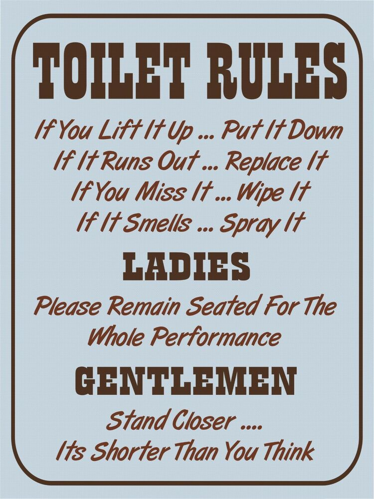 Vintage retro style Toilet Rules funny bathroom metal sign ...