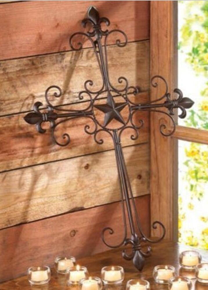 New rustic texas lone star fleur de lis metal wall cross