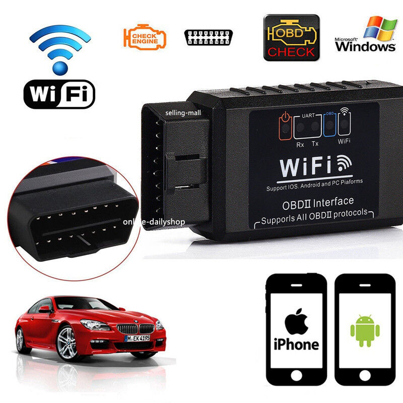 elm327 wifi obd2 obdii auto car diagnostic scan tool scanner for iphone android ebay. Black Bedroom Furniture Sets. Home Design Ideas