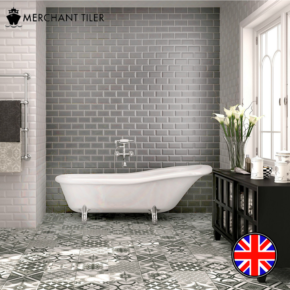 Metro Gloss Grey Beveled Brick Ceramic Wall Tiles 10 X 20cm Bathroom Kitchen Ebay