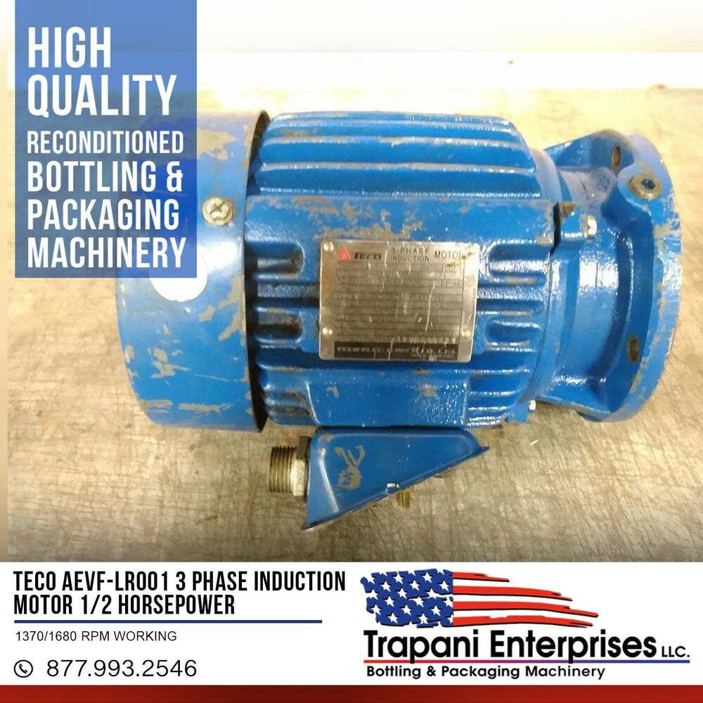 Teco AEVF-LR001 3 Phase Induction Motor 1/2 Horsepower 1370/1680 RPM ...