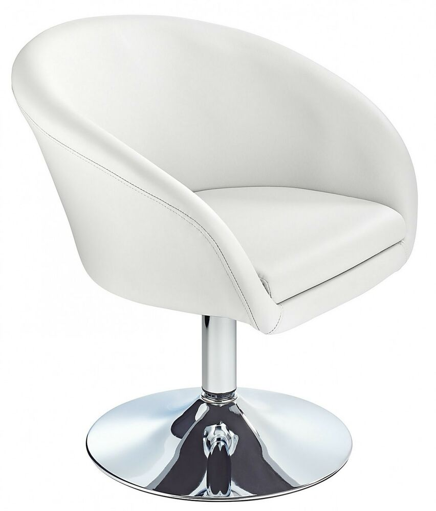 modern swivel chair supple faux leather seat white bucket chairs chrome base new ebay. Black Bedroom Furniture Sets. Home Design Ideas