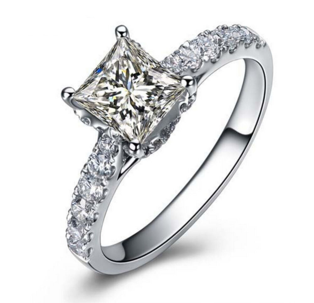 ct princess cut beautiful solitaire engagement ring. Black Bedroom Furniture Sets. Home Design Ideas