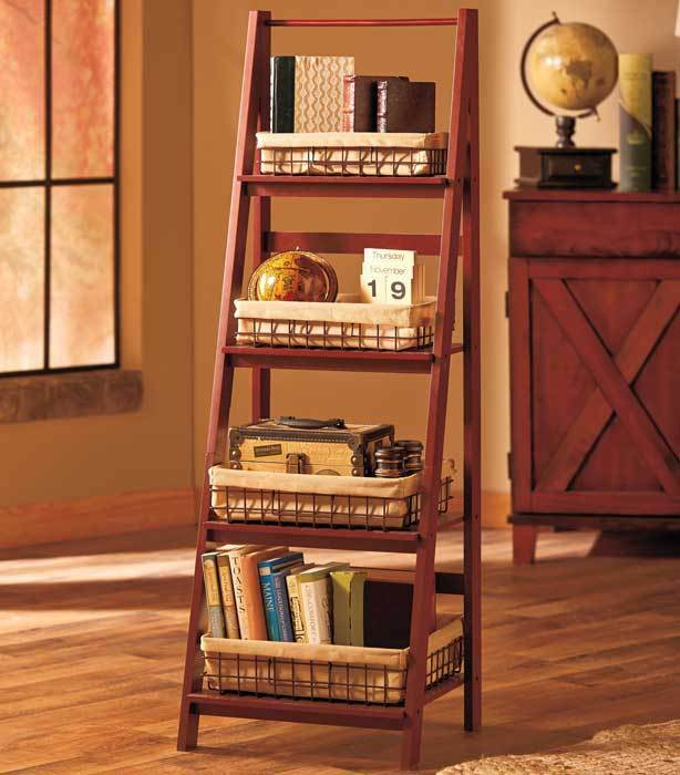 Ladder shelf and or set of 4 lined wire baskets kitchen living room storage ebay - Living room multi use shelf idea ...
