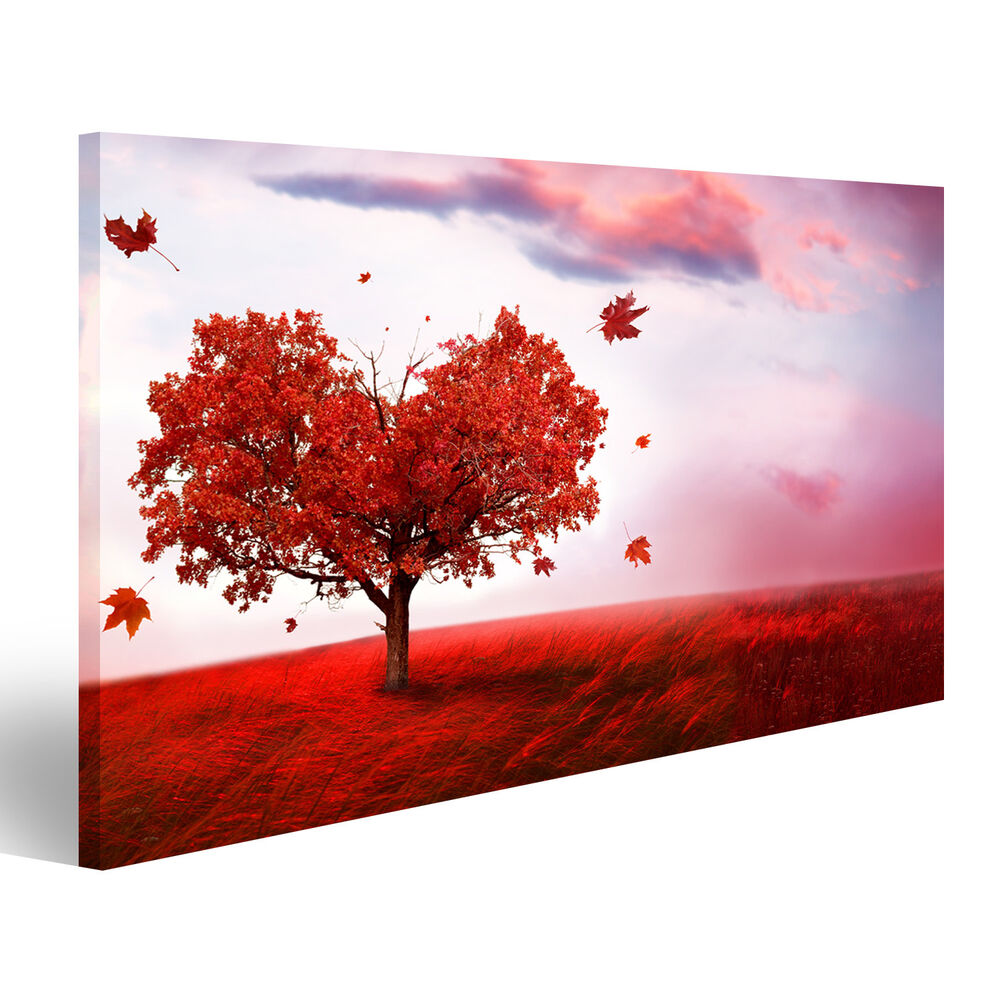 herz baum liebe rotes feld bild auf leinwand poster ayr 1k ebay. Black Bedroom Furniture Sets. Home Design Ideas