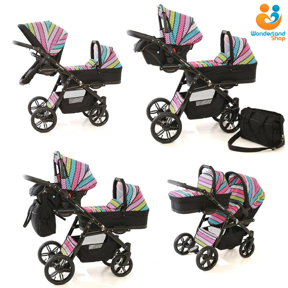 twin pram 3in1 pushchair double buggy twins car seats duet 10 colours freebies ebay. Black Bedroom Furniture Sets. Home Design Ideas