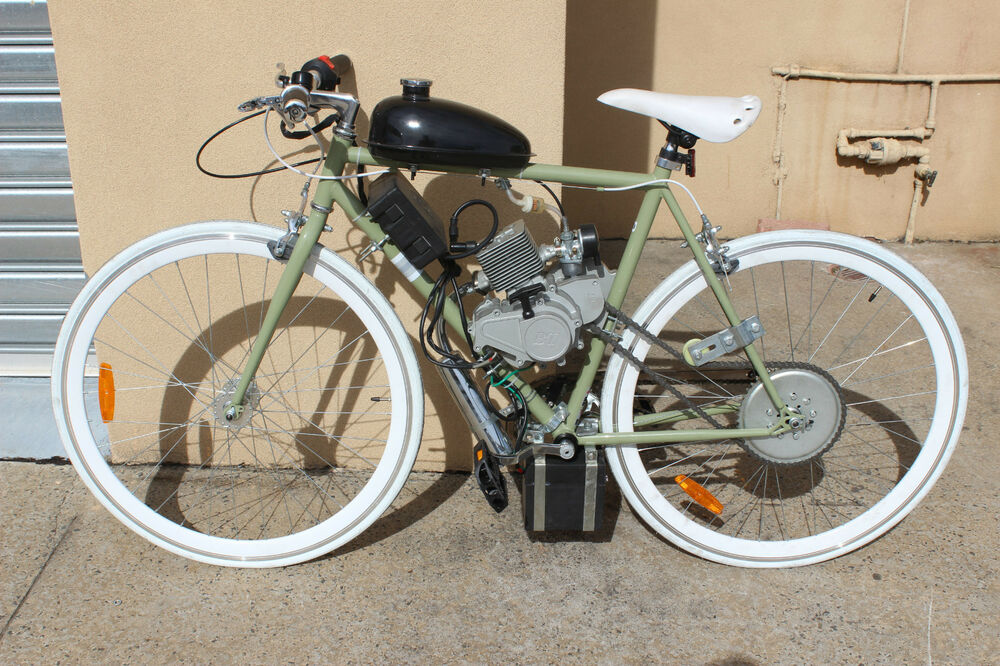 Electric start 80cc engine kit petrol motor 5hp for for How to electric motorize a bicycle
