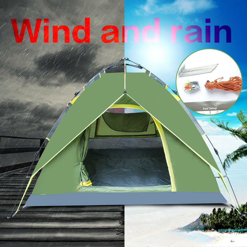 waterproof 3 4 people automatic instant pop up tent green camping hiking tent 712396692522 ebay. Black Bedroom Furniture Sets. Home Design Ideas