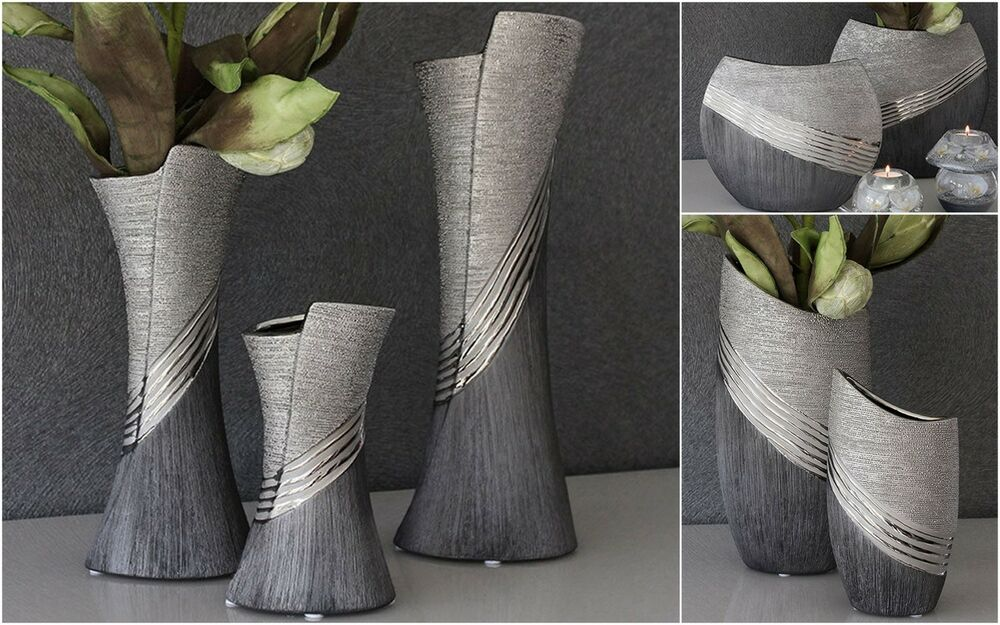 gilde vase blumenvase bridgetown keramik silber grau relifiert modell w hlen ebay. Black Bedroom Furniture Sets. Home Design Ideas