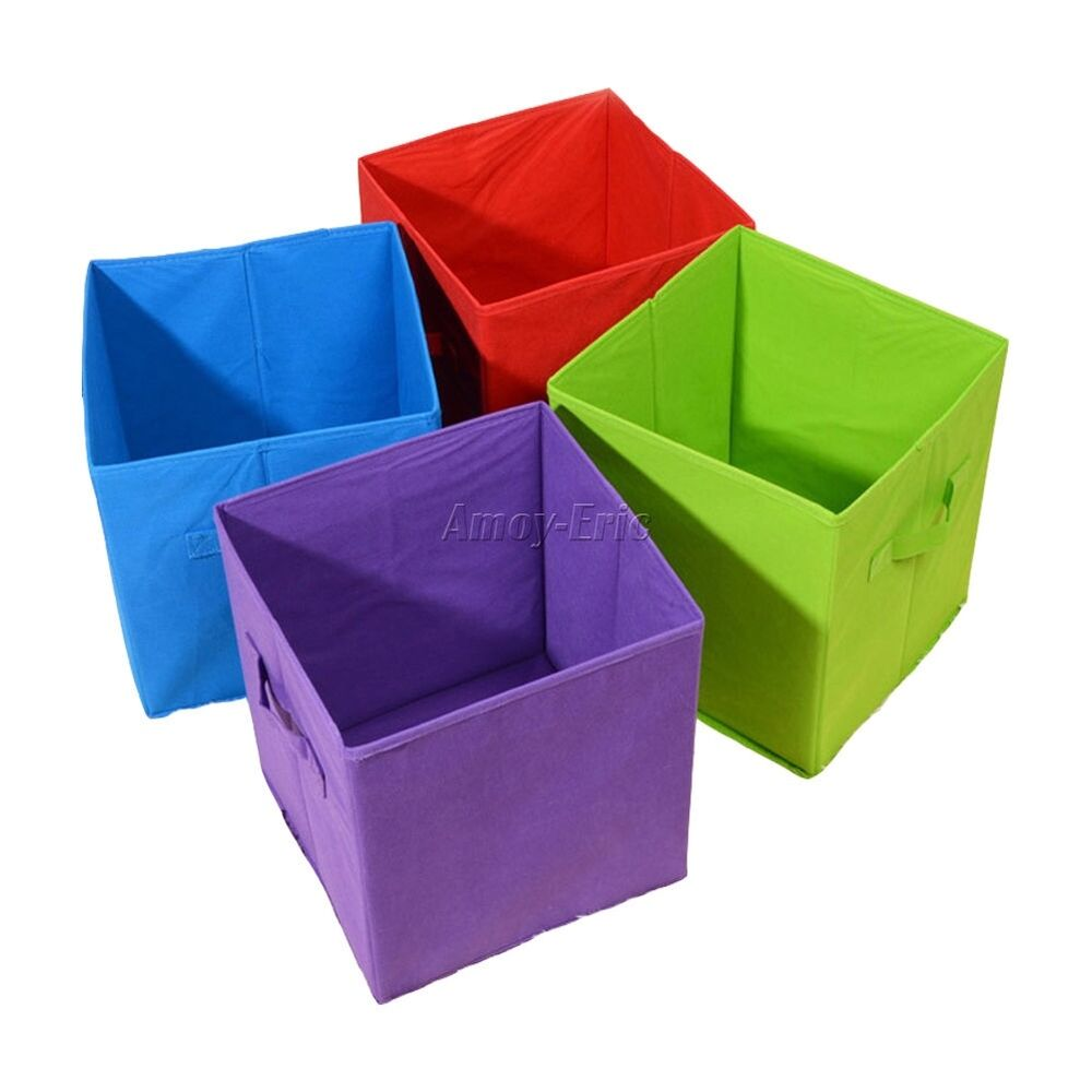 Square Foldable Fabric Toy Storage Boxes With Handles 22 X