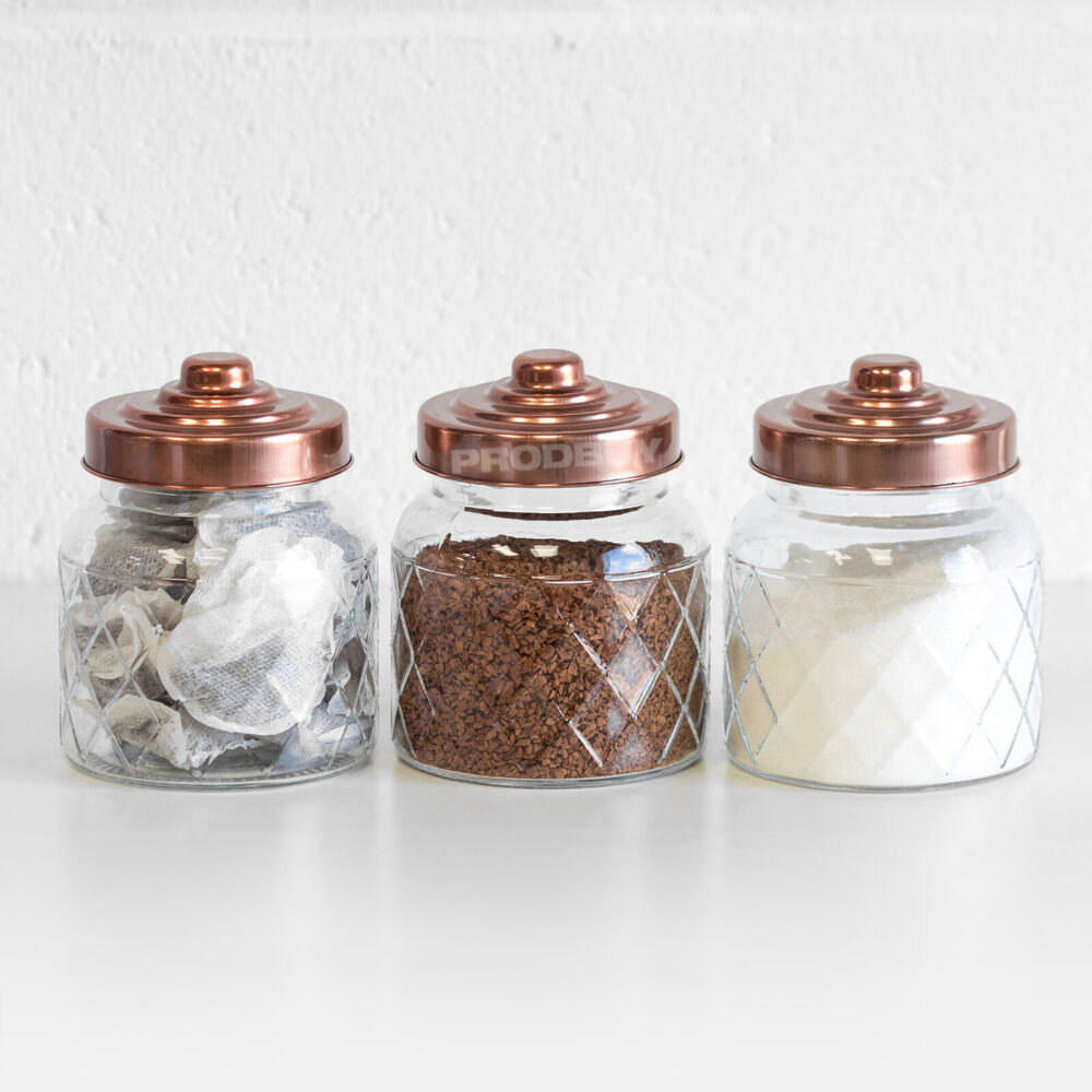 kitchen glass canisters with lids 3 x glass storage jars copper lids tea coffee sugar canisters kitchen containers 5056013337812 2485