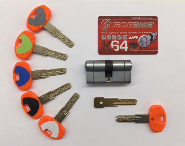 CILINDRO EUROPEO SECUREMME CHIAVE-CHIAVE EVO K64 - 5 CHIAVI + C. CANTIERE