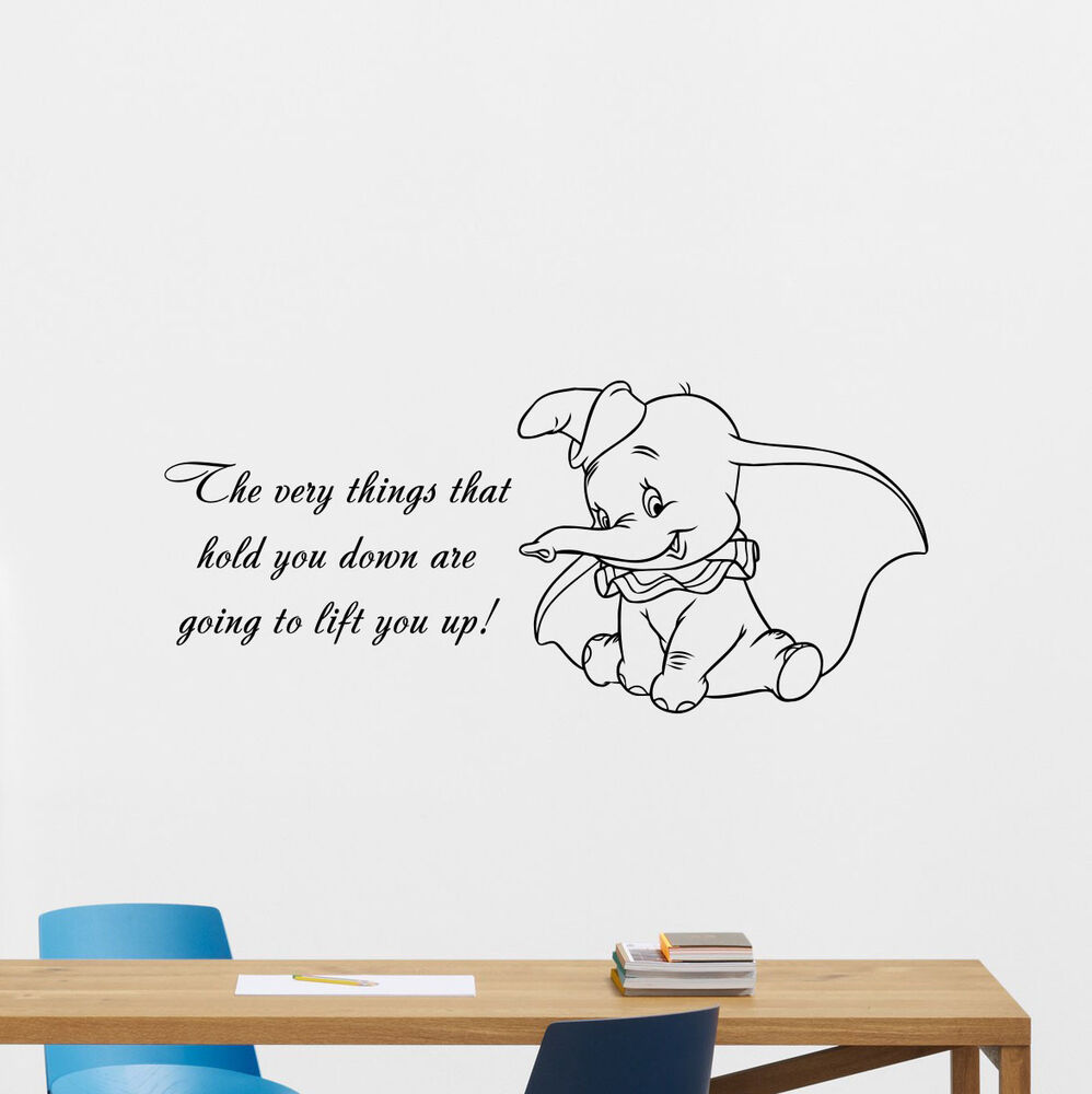 Dumbo quotes wall decal disney elephant vinyl sticker for Disney wall stencils for painting kids rooms