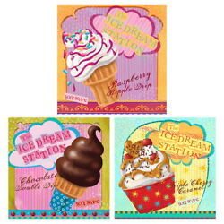 Soft Serve Ice Cream Parlor Station Wall Decal Set Vintage Style Kitchen Decor