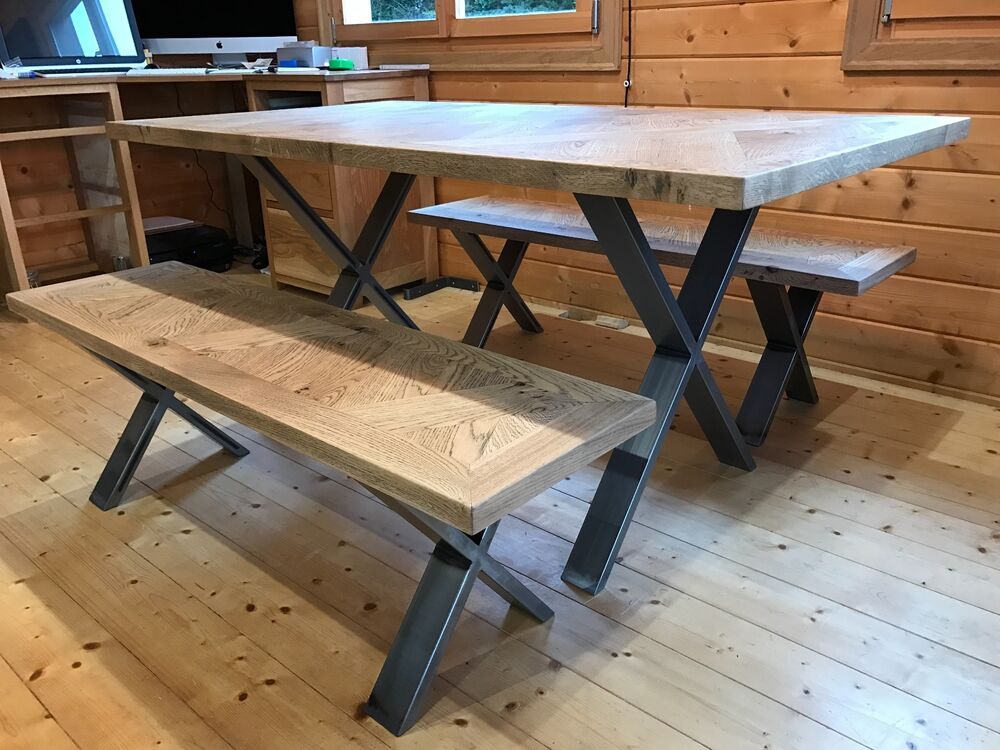 Industrial Oak Cross Weave Dining Table Amp Bench Set
