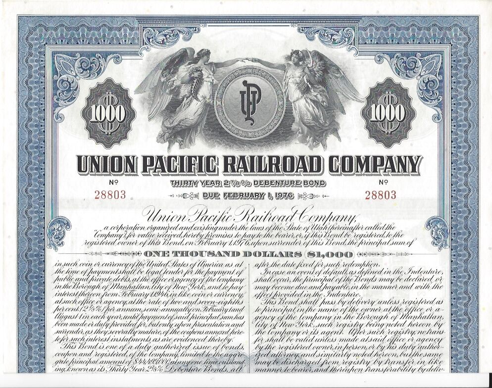UNION PACIFIC RAILROAD COMPANY.....1946 DEBENTURE BOND | eBay Pacific Railway Company