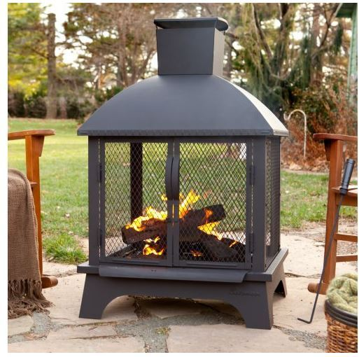 Outdoor Patio Fireplace Back Yard Fire Pit Wood Burning