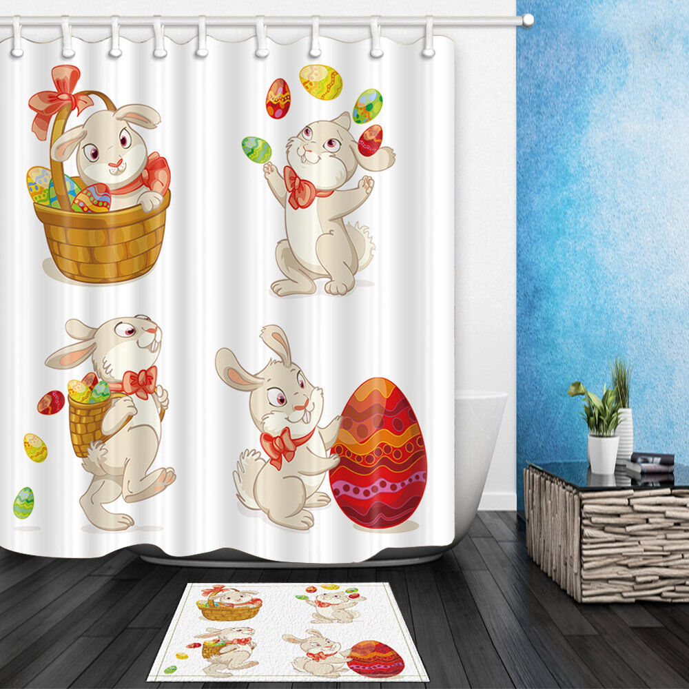 Http Www Ebay Com Itm The Easter Bunny Waterproof Fabric Home Decor Shower Curtain Bathroom Mat 142294347545