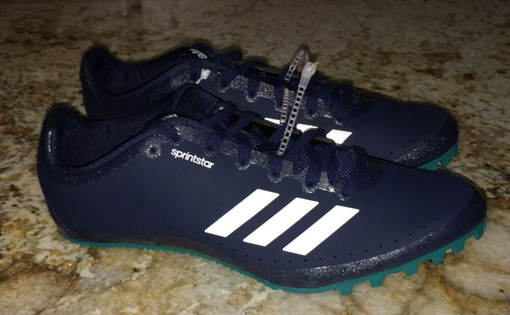 new product 02bf5 47b75 Details about ADIDAS SprintStar Navy Blue White Teal Track Field Spikes  Shoes Mens Sz 8 12.5