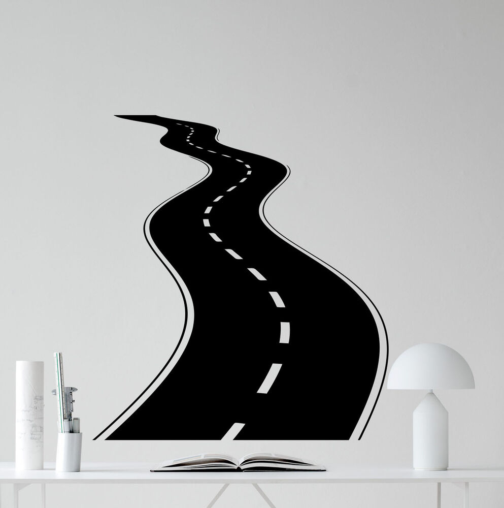Road Wall Decal Tire Tracks Highway Way Garage Vinyl