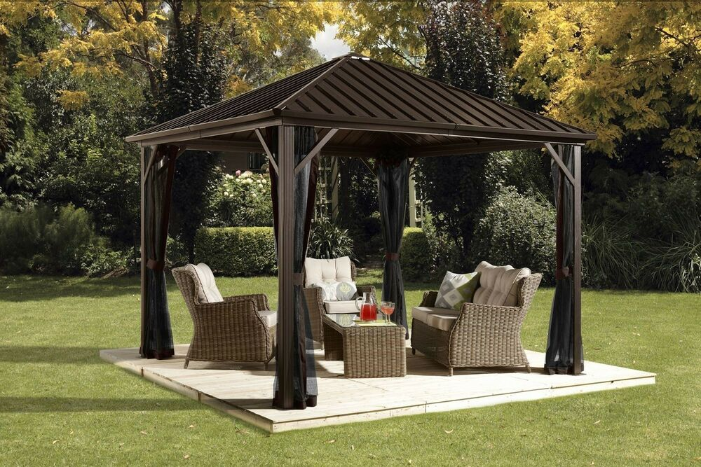 sojag dakota 12 ft w x 10 ft d metal permanent gazebo ebay. Black Bedroom Furniture Sets. Home Design Ideas