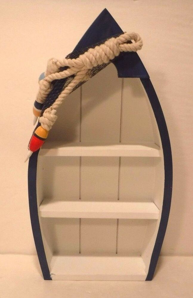 Standing Blue Amp White Shelf Boat Nautical Decor Fishing