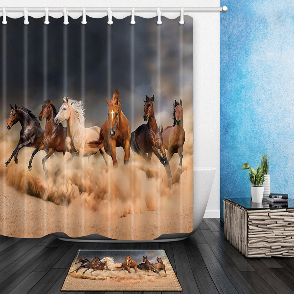 Galloping Horse Theme Waterproof Fabric Home Decor Shower