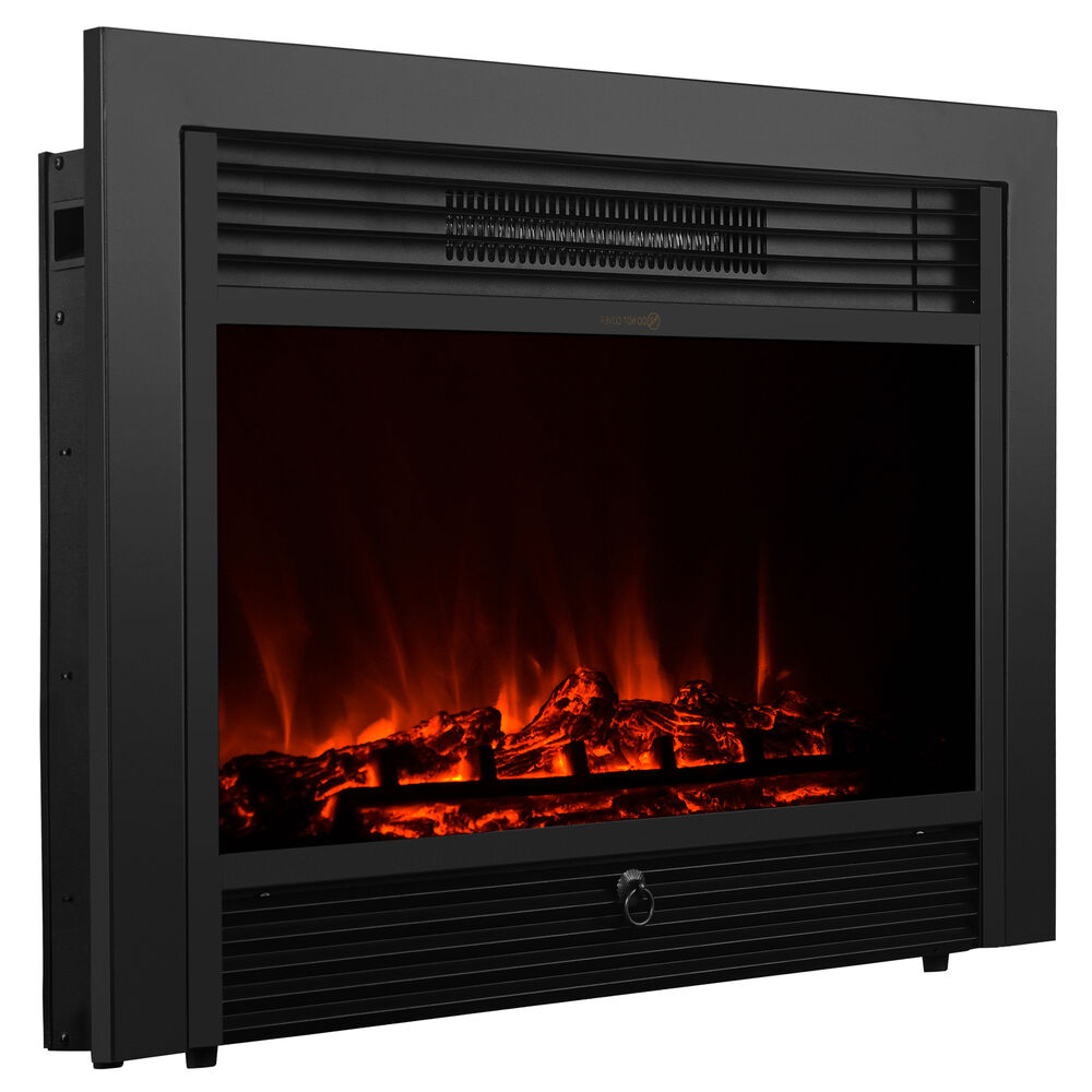 28 5 Embedded Electric Fireplace Insert Heater Glass Log Flame Remote Control Ebay