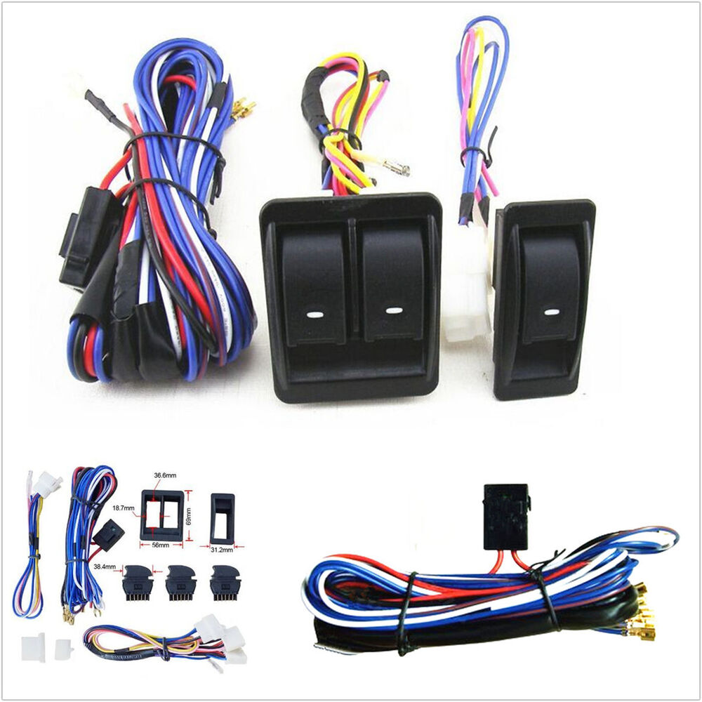 Car Auto Power Window Switch With 12v Wiring Harness Kits