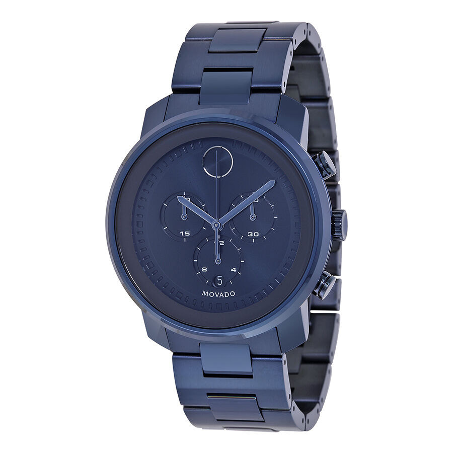 new movado bold chronograph blue pvd stainless steel s