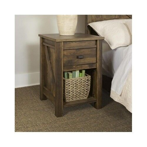 Rustic End Table Farmhouse Reclaimed Barn Wood Nightstand