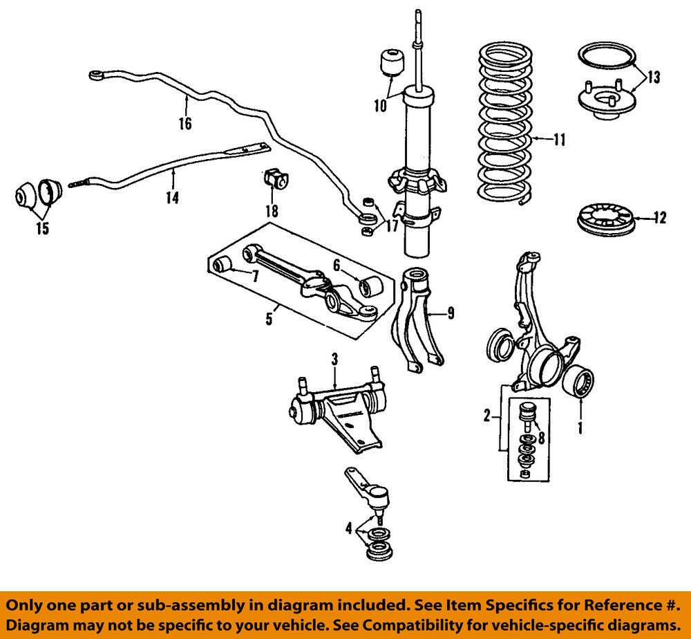 Honda Prelude 1998 Front Shock And: HONDA OEM 90-97 Accord Front Suspension-Radius Arm Bushing